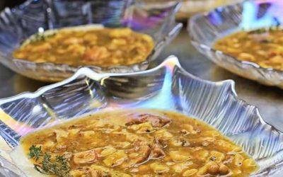 CONEJO, almendras, torta de trigo, cebolleta y garum